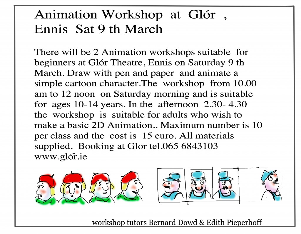 Animation Workshop at Glór Ennis sat 9 th March